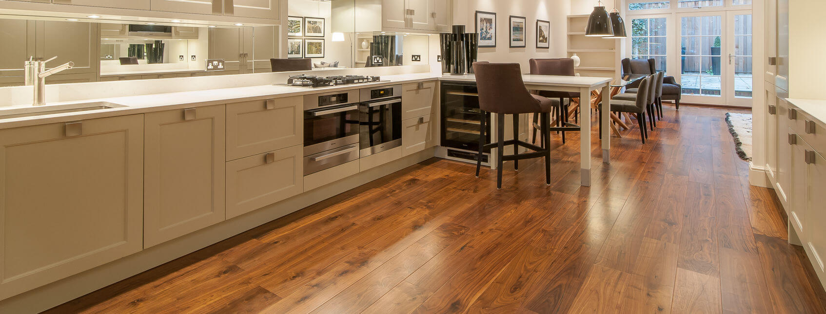 Professionally fitted wood floor in modern house